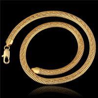 Weihnachtsgeschenk heißer Verkauf 24k 18k Gelbgold 8M seitwärts Halskette - gestreifte Seite Schmuck GN818 brandneue Mode Edelstein Halskette