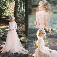 2020 Bohemian Blush Robe Robe de mariée rose V Couleur Dentelle Appliques Manches longues Illusion Hollow Hollow Back Tulle balayer Train Plus Taille Robes de mariée