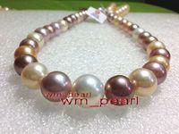"""Joyas de peña fina 18 """"12-14mm Real South Mar Multicolor Perfect Perfect Pearl Necklace 14k Oro"""