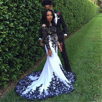 2020 Prom Dresses Black and White Long Mermaid Prom Evening ...