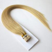 Keratin i tip haarverlängerung 100% brasilianisches vorgebundenes menschliches haar schwarz, braun, blond i tip haarverlängerung
