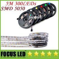 防水IP65 300 LED 5M 5050 SMDシングルカラーフレキシブルLEDストリップライトクールホワイトホワイトホワイト60LED / M LEDテープ