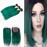Silky Straight 1B Green Hair Bundles With Lace Closure Peruv...