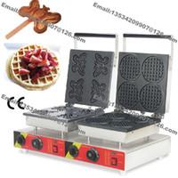 Ücretsiz Kargo Ticari yapışmaz 110 v 220 v Elektrikli Çift Waffle Makinesi Kelebek Waffle Baker Mini Yuvarlak Waffle makinesi Demir