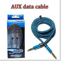 3 pies de aluminio de 3,5 mm de audio AUX coche Cable de extensión del alambre del cable trenzado auxiliar estéreo macho a macho para el teléfono móvil y la tableta