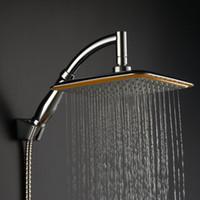 """Luxo 9 """"Chuveiro de Chuvas Cabeça Cromado Quadrado Chuva Banheiro Chuveiro Forte pressão de ar Regulamentação Universal Nos Chuveiros"""