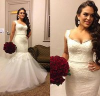 2016 Vintage Sexy Lace Mermaid Wedding Dresses Beads V- Neck ...