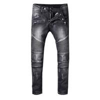 SS18 Skinny Slim Fit Material de Revestimento Lavado de Luxo Denim Elastic Motocicleta Homens Jeans Designer de tinta Respingo Dos Homens Jeans S828-8 BM880