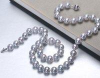 Nobby 10-11mm mer sud collier en argent gris perle ronde 18inch 925 fermoir en argent