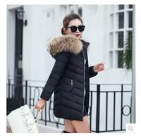 New Fashion Winter Jacke Frauen Großer Artificial Waschbär-Pelz-Kragen-Kapuzenjacke Thick-Mantel für Frauen Outwear Parka