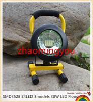 ZHAO 방수 IP65 SMD3528 24LED 3models 30W LED 홍수 빛 휴대용 스포트 라이트 충전식 야외 LED 작업 비상 조명