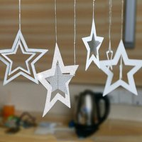 7Pcs set Star Hanging Ornaments Hollow Glitter Star Pendant ...