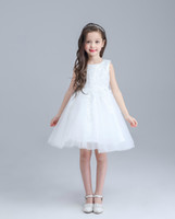 Tulle 레이스에 대 한 높은 품질 화이트 빅 보이스 소녀 드레스 웨딩 및 생일 특별 제공을위한 유아 미씩 꽃 파는 드레스