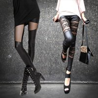 Moda europea New Design Mujer Sexy Bodyon Encaje Gauze Perspectiva Perspectiva PU Cuero Túnica Pantalones Leggings Plus Tamaño LXL