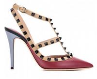 su misura * alta qualità! u565 34/40 rivetti su misura in vera pelle tacchi 10cm tacchi sandali scarpe moda