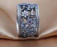 2016 nova primavera 925 anel de prata esterlina com cubic zirconia me esquecer não, roxo claro cz se encaixa para o estilo de pandora jóias diy encantos