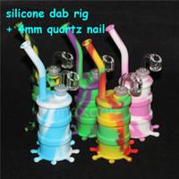 Tubo de fumar de silicona Mano Cuchara Pipe Hookah Bongs multi Colores plataformas de aceite de silicona con uñas de cuarzo herramienta dab VS vidrio retorcido romo