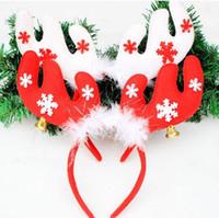 Adornos navideños Navidad cuernos con plumas diadema cabeza hebilla suministros fiesta de Navidad HJIA824