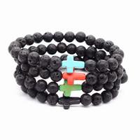 Mode schwarz Lava Naturstein Armbänder Kreuz Charme ätherisches Öl Diffusor Armband für Männer Frauen Schmuck