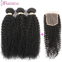 Brazilian Curly Hair With Closure 7A Unprocessed Brazilian H...
