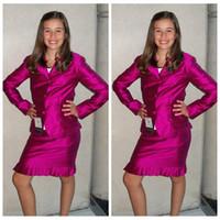 Schlank Gewohnheit 2 Stück Mädchen Formal Pageant Kleider Knielange langen Ärmeln Jacke Mädchen Interview Anzug Formal Short Teenager Benutzerdefinierte Plus Size