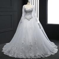 Bling bling abbagliante manica lunga immagine reale perline di cristallo una linea abiti da sposa appliques fatte a mano strass tulle nuovo abito da sposa abito