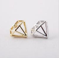 18 k золото и серебро мода выступ Алмаз серьги прекрасная форма с помощью болта brincos серьги женщин продажа