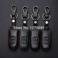 Costurado mão Couro chave do carro caso capa para Mazda 3 Mazda 6 2014 2015 CX-5 CX-7 CX-9 2 botões do controle remoto Key Tampa Acessórios Car
