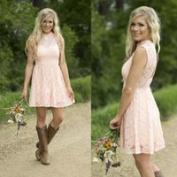 2016 Pink Lace Short Bridesmaid Dresses Junior Bridesmaid Wedding Party Dresses Country Style Wedding Maid of Honor Gowns BA2660