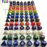 Jeu de dés de gros-7pc / lot Dés de haute qualité multi-faces avec effet de marbre d4 d6 d8 d10 d10 d12 d20 DUNGEON et DRAGONS jeux de dés rpg