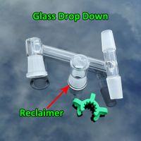 Dropshipping !!! 2016 nuevo diseño de vidrio Drop Down Adaptor con Reclaimer y Keck Clip 2 Male 1 Female Joint 14mm 18mm de vidrio Dropdown Adapter