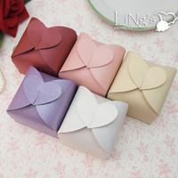 Lila, Rosa Braut Candy Boxen Papier Gunst Boxen Neue Ankunft 6 * 6 * 6 cm Hochzeit Zubehör 2017 Neue Ankunft Romantische Herzform 50 teile / los