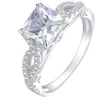 패션 여성 광장 시뮬레이션 다이아몬드 지르콘 사이드 스톤 밴드 링 925 실버 약혼 결혼식 신부 보석 SZ 5-10 설정