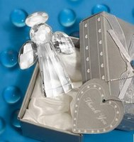 100 jogos / lote, Cristal Anjo Claro Paperweight Desk Decor Favor Do Casamento do bebê presente de aniversário