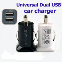 USAMS 3.1A USB 듀얼 2 포트 미니 자동차 충전기 아이폰 6s 5s 삼성 S7 S6 가장자리 HTC 유니버설 5V 3100mah 전원 어댑터