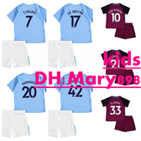 Super qualité 17 18 enfants Kits City home soccer Jersey KUN AGUERO STERLING TOURE YAYA DE BRUYNE GUNDOGAN G.JESUS ​​chien lointain Chemises de football