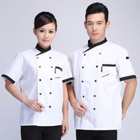 Toptan-Yeni Sıcak Aşçı takım kısa kollu beyaz şef ceket ucuz şef üniforma kruvaze şef giysi resturant iş takım elbise 121
