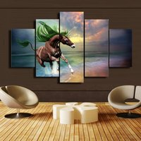 5 Pcs Set Brown Unicorn HD Canvas Print Painting For Modern ...