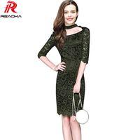 Neue Sexy Frauen Plus Size Spitzenkleid Sommer Elegante Casual Floral Hohl Halbarm Fashion Abend Mantel Party Kleider 2017 q1113