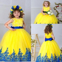Yellow Flower Girl Dresses with Lace Edge Christmas Scoop Ne...