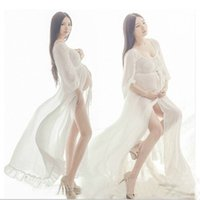 New White Beach Dress Maternity Long Lace Dresses Pregnant P...