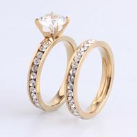 Venta caliente 12 pares de mujeres para hombre anillos de la boda 316L de acero inoxidable chapado en oro de cristal Fahion joyería anillo de compromiso de la banda