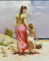 Pino Daeni, Seaside Walk, High Quality Hand painted famous Imp...