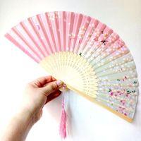 11 أنواع الزفاف للطي مروحة الكلاسيكية الصينية الرياح مروحة اليد اليابانية الحرير الرقص الكرز مروحة wen4480