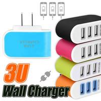 US EU Stecker 3 USB LED Wand Ladegeräte 5 V 3.1A Adapter Reise Bequemer Netzadapter mit dreifachem USB Ports Für Handy
