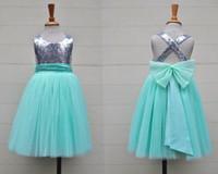 Silver Sequin Mint Tulle Flower Girls Dress Baby Spädbarn Toddler Kids Dress Juniors for Wedding Pageant Tulle Grows