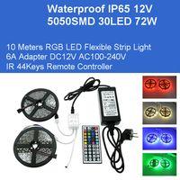 DC12V 10M RGB Strips Flexibles 5050 300leds Kit 72W Kit LED Adaptateur Lampes IP65 Lampes imperméables IR Télécommande IR Direct China Grossales