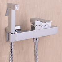 Kupfer Chrom neue Toilette Bidet Messing Hand Bidet Spray Shattaf + Heiß Kaltwasserventil Mischer mit Halter + Schlauch Sprayer Jet BD552