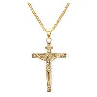 Jesus Piece Pendant Christian Jewelry Regalo all'ingrosso Vintage in acciaio inossidabile / 18K placcato oro catena croce collana uomo