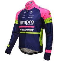 Vinter Fleece Termiska Endast Cykling Jackor Kläder Lång Jersey Ropa Ciclismo 2016 Lampre Merida Pro Team Blue L03 Storlek: XS-4XL